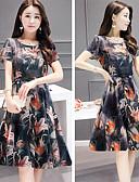 hesapli Print Dresses-Kadın's Gömlek Elbise - Çiçekli, Desen Diz-boyu