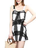 hesapli Bikiniler ve Mayolar-Kadın's Siyah YAKUT Tek Parçalılar Mayolar - Çizgili M L XL Siyah