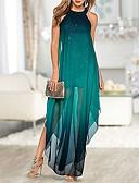 hesapli NYE Elbiseleri-Kadın's Zarif Kombinezon Elbise - Zıt Renkli Maksi