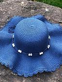 hesapli Romantik Dantel-Kadın's Actif Temel sevimli Stil Hasır Hasır Şapka Güneş şapkası Zıt Renkli Yaz Sonbahar Doğal Pembe Koyu Mavi Haki