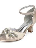 billige Bryllupskjoler-Dame bryllup sko Tykk hæl Titte Tå Rhinsten / Gummi Sateng Vintage / Søt Vår / Vår sommer Svart / Hvit / Lilla / Bryllup / Fest / aften