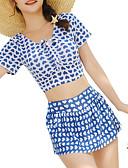 hesapli Bikiniler ve Mayolar-Kadın's Doğal Pembe Sarı Navy Mavi Tankini Mayolar - Geometrik M L XL Doğal Pembe
