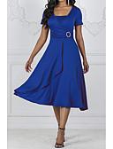 abordables Robes Femme-Femme Grandes Tailles Midi Patineuse Robe Couleur Pleine Eté Noir Vin Bleu royal XXXL XXXXL XXXXXL Manches Courtes