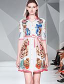 hesapli Print Dresses-Kadın's Temel Zarif A Şekilli Çan Elbise - Solid Zıt Renkli, Kırk Yama Desen Diz üstü