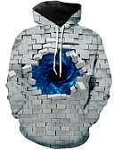 cheap Men's Hoodies & Sweatshirts-Men's Casual Hoodie - 3D Gray US32 / UK32 / EU40