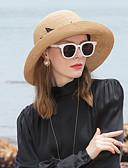 זול אביזרים-סיב טבעי כובעי קש עם קפלים 1pc קזו'אל / לבוש יומיומי כיסוי ראש