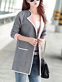 hesapli Kadın Kabanları ve Trençkotları-Kadın's Günlük Temel Normal Kaban, Solid V Yaka Uzun Kollu Polyester Doğal Pembe / Fuşya / Gri M / L / XL