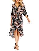 hesapli Kadın Elbiseleri-Kadın's A Şekilli Elbise - Çiçekli Asimetrik