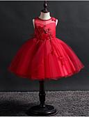 זול שמלות לילדות פרחים-נסיכה עד הריצפה שמלה לנערת הפרחים  - כותנה / אלסטיין / טול ללא שרוולים עם תכשיטים עם אפליקציות על ידי LAN TING Express