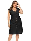 hesapli Büyük Beden Elbiseleri-Kadın's Temel Zarif Kılıf Elbise - Solid Diz-boyu