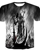 hesapli Erkek Tişörtleri ve Atletleri-Erkek Pamuklu Yuvarlak Yaka Tişört Desen, 3D / Kuru Kafalar Punk ve Gotik Gri / Kısa Kollu