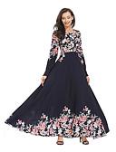 hesapli Maksi Elbiseler-Kadın's Vintage Zarif A Şekilli Abaya Elbise - Çiçekli Maksi