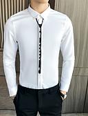 billige T-shirts og undertrøjer til herrer-Herre - Ensfarvet Basale Skjorte Hvid US40 / UK40 / EU48