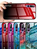 זול מגנים לטלפון-מגן עבור Huawei Huawei P20 / Huawei P20 Pro / Huawei P20 lite תבנית כיסוי אחורי שיש / צבע הדרגתי קשיח זכוכית משוריינת