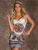 hesapli Mini Elbiseler-Kadın's Bandaj Kombinezon Elbise - Çiçekli Diz üstü