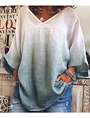 abordables robe invitée mariage-Chemise Femme, Teinture par Nouage - Coton Mosaïque Basique / Elégant Col en V Rouge / Bleu Poudré Bleu