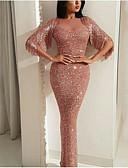 hesapli NYE Elbiseleri-Kadın's Bandaj Elbise - Solid, Payetler Boğazlı Maksi Gül kurusu