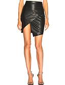 hesapli Kadın Etekleri-Kadın's Seksi sofistike PU Mini Bandaj Etekler - Solid Siyah M L XL