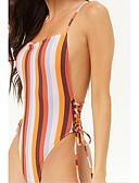 hesapli Bikiniler ve Mayolar-Kadın's Temel Turuncu Boyundan Bağlamalı Yandan Bağcıklı Tek Parçalılar Mayolar - Çizgili Geometrik Arkasız Bağcık S M L Turuncu