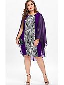 abordables Robes Grandes Tailles-Femme Bohème Midi Courte Robe - Mosaïque Imprimé, Abstrait Noir Bleu clair Violet XL XXL XXXL Sans Manches