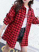 hesapli Kız Çocuk Üstleri-Çocuklar Genç Kız Actif Çin Stili Kareli Uzun Kollu Pamuklu Bluz Beyaz
