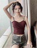 hesapli Tişört-Kadın's Askılı İnce - Gömlek Arkasız, Solid Temel / Zarif YAKUT