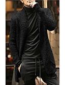 저렴한 남성 스웨터 & 가디건-남성용 솔리드 긴 소매 가디건 블랙 / 그레이 / 아미 그린 US38 / UK38 / EU46 / US40 / UK40 / EU48 / US42 / UK42 / EU50