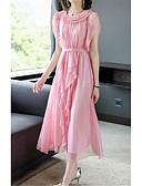 hesapli Print Dresses-Kadın's Çan Elbise - Solid Maksi