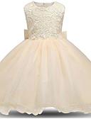 זול שמלות לילדות פרחים-נסיכה באורך  הברך שמלה לנערת הפרחים  - פוליאסטר / תחרה / טול ללא שרוולים עם תכשיטים עם פפיון(ים) / תחרה / קצוות על ידי LAN TING Express