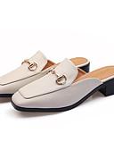 hesapli Moda Kemerler-Kadın's Terlikler ve Sandaletler Kalın Topuk Dörtgen Uçlu Toka Suni Deri Tatlı / Minimalizm İlkbahar yaz Siyah / Badem
