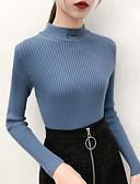hesapli Kadın Kazakları-Kadın's Solid Uzun Kollu Kazak, Yüksek Yaka Sonbahar Siyah / Beyaz / Mor Tek Boyut