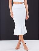 cheap Women's Skirts-Women's Street chic Trumpet / Mermaid Skirts - Solid Colored Black White Blue S M L / Slim
