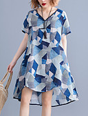hesapli Print Dresses-Kadın's Zarif A Şekilli Elbise - Geometrik, Desen Diz üstü