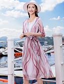 hesapli Print Dresses-Kadın's A Şekilli Elbise - Geometrik Kar Tanesi Midi