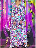 hesapli Maksi Elbiseler-Kadın's A Şekilli Elbise - Geometrik Maksi