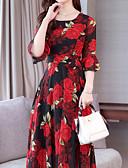 hesapli Print Dresses-Kadın's Boho İnce A Şekilli Elbise - Çiçekli, Desen Midi