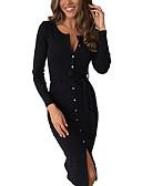 hesapli Mini Elbiseler-Kadın's Temel Kılıf Elbise - Solid, Desen Diz-boyu