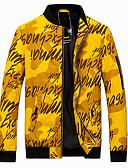 hesapli Erkek Ceketleri ve Kabanları-Erkek Günlük Temel İlkbahar & Kış Normal Ceketler, Zıt Renkli / kamuflaj Dik Yaka Uzun Kollu Polyester Sarı / Havuz / Gri
