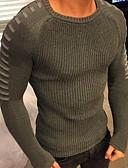 hesapli Erkek Kazakları ve Hırkaları-Erkek Solid Uzun Kollu Kazak, Yuvarlak Yaka Siyah / Beyaz / Ordu Yeşili US34 / UK34 / EU42 / US36 / UK36 / EU44 / US38 / UK38 / EU46