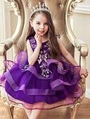 hesapli Elbiseler-Çocuklar Toddler Genç Kız Actif Tatlı Solid Çiçekli Nakış Kolsuz Diz üstü Elbise Mor