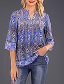 abordables Chemises Femme-Chemise Femme, Géométrique Imprimé Col en V Bleu Roi