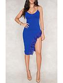 Недорогие Мини-платья-Жен. Классический Элегантный стиль Оболочка Платье - Однотонный, Открытая спина Оборки Мини