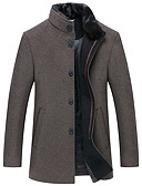 cheap Men's Jackets & Coats-Men's Daily EU / US Size Long Jacket, Solid Colored Stand Long Sleeve Polyester Navy Blue / Gray / Khaki