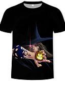 povoljno Muške majice i potkošulje-Majica s rukavima Muškarci - Osnovni / Ulični šik Dnevno 3D / Crtani film / Portret Print Crn