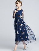 hesapli Print Dresses-Kadın's A Şekilli Elbise - Hayvan, Örümcek Ağı Nakış Maksi