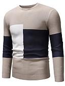 저렴한 남성 스웨터 & 가디건-남성용 컬러 블럭 긴 소매 풀오버, 라운드 넥 가을 / 겨울 블랙 / 브라운 / 그레이 US32 / UK32 / EU40 / US34 / UK34 / EU42 / US36 / UK36 / EU44
