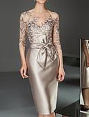povoljno Večernje haljine-Žene Elegantno Čipka Slim Bodycon Haljina Jednobojni Lađa izrez Do koljena