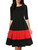 hesapli Vintage Kraliçesi-Kadın's Kılıf Elbise - Çizgili Diz-boyu
