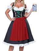 hesapli Oktoberfest-Karnaval Kasım Festivali üstü dar altı geniş elbise Trachtenkleider Kadın's Elbise Önlük Bavyera Kostüm YAKUT