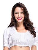 hesapli Oktoberfest-Kasım Festivali Bluz / Gömlek üstü dar altı geniş elbise Trachtenkleider Kadın's Bluz Elbise Bavyera Kostüm Beyaz